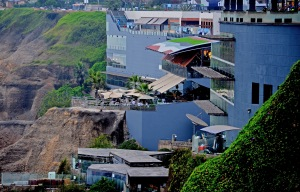 the shiny mall carved into the cliffs